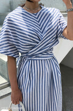 Fashion Casual Vacation Strip Round Collar Short Sleeve Fork Maxi Dress - lolabuy