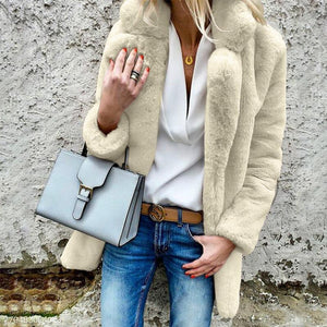 Lapel Long Sleeve Plain Fur Coat - lolabuy