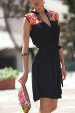 Fashion Casual Slim Embroidery Sleeveless V Collar Shift Dress