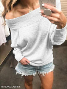 Fashion Off-Shoulder Long Sleeve Pull Over T-Shirt - lolabuy