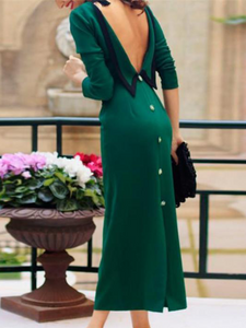 Elegant Fashion Noble Slim Plain Back-Button Long Sleeve Evening Dress - lolabuy