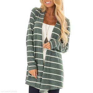 Knitted Striped Long Cardigan - lolabuy