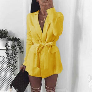Fashion Elegant Business Plain Button Lace-Up Waist Long Sleeve Cardigan - lolabuy