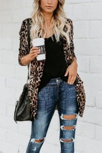 Long And Medium Leopard Loose Cardigan - lolabuy
