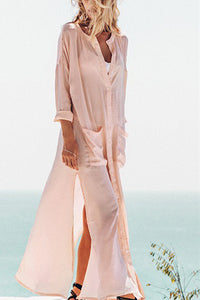 Vacation Fashion Casual Loose Plain Long Sleeve Cardigan Button Fork Maxi Dress - lolabuy