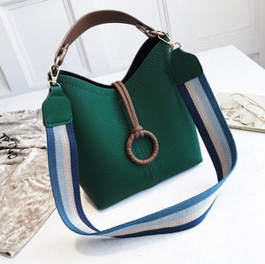 Fashion Casual Plain Strip Belt One Shoulder Hand Bucket Bag - lolabuy