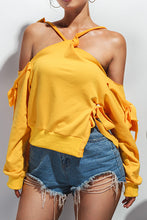 Nifty Fashion Casual Loose Plain Off Shoulder Long Sleeve Halter Fork Top - lolabuy