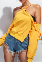 Nifty Fashion Casual Loose Plain Off Shoulder Long Sleeve Halter Fork Top
