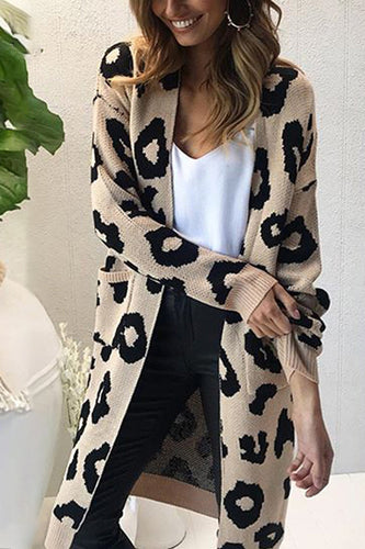Fashion Casual Loose Leopard Print Long Sleeve Long Cardigan - lolabuy