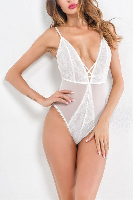 Sexy Slim Lace Transparent Sleeveless Braces Teddy - lolabuy