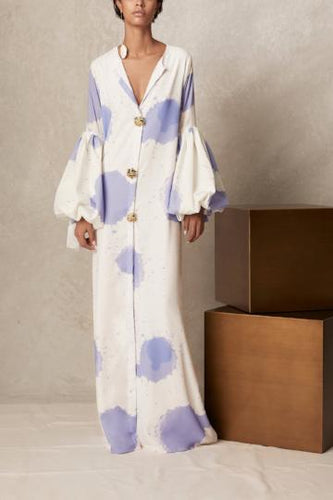 V Collar Long-Sleeved Printing Loose Casual Maxi Dress - lolabuy
