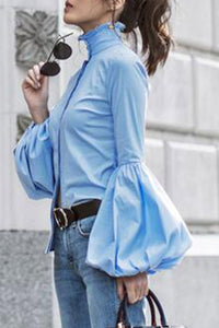 Elegant Fashion Slim Plain High Collar Long Sleeve Puff Cuff Button Front Blouse - lolabuy