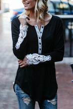 Fashion Lace V-Neck Long Sleeve T-Shirt - lolabuy