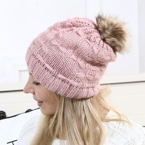 Fashion Casual Lady Thermal Strip Knitting Hat - lolabuy