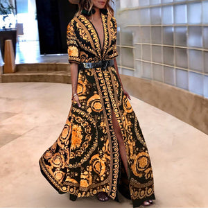 Early Autumn Vintage Printed  Fashionable Maxi  Dress - lolabuy