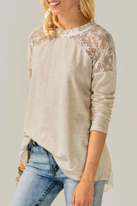 Fashion Sweet Nifty Loose Lace Joint Long Sleeve Top - lolabuy