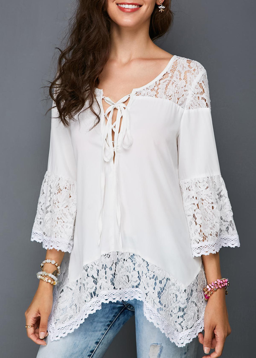 Elegant Fashion Casual Vacation Loose Lace Flare Long Sleeve Blouse - lolabuy