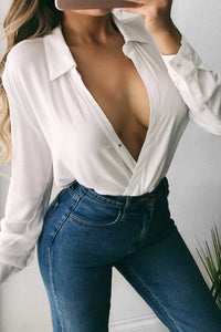 Sexy Fashion Slim Plain Deep V Collar Medium Sleeve Blouse