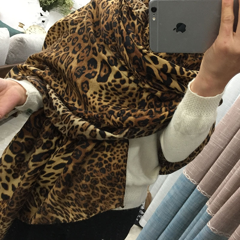 Casual Fashion Leopard Print Rectangle Cape Scarf - lolabuy