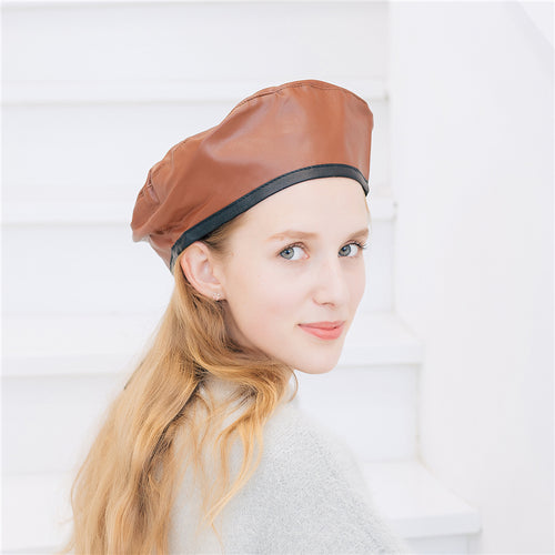 Fashion Casual Elegant Leather Plain Adjustable Beret Hat - lolabuy