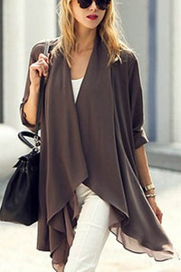 Fashion Casual Loose Soft Plain Long Sleeve Irregular Hem Cardigan - lolabuy