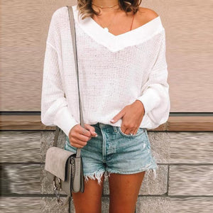 Solid Color Simple V-Neck Sweater - lolabuy