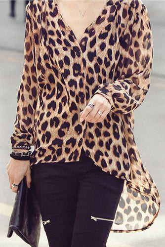 Fashion Mature Casual Loose Leopard Print Long Sleeve Blouse - lolabuy