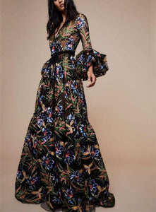 Sexy V-Collar Print Long-Sleeved Maxi Dress - lolabuy