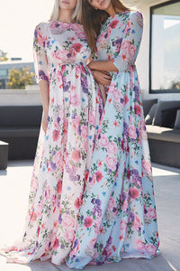 Vacation Fashion Casual Slim Floral Medium Sleeve Maxi Dress