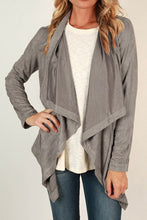 Fashion Casual Loose Plain Irregular Hem Long Sleeve Cardigan - lolabuy