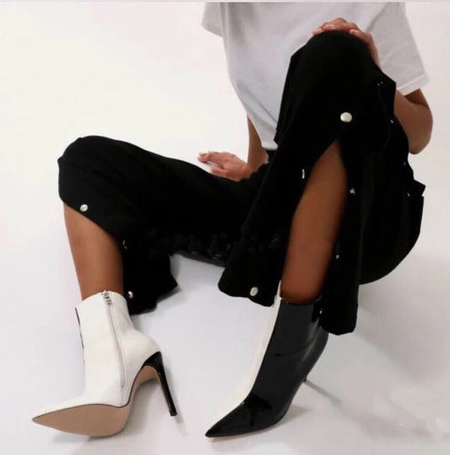 Fashion Business Elegant Color Block Mules Zipper High Heel Boots - lolabuy