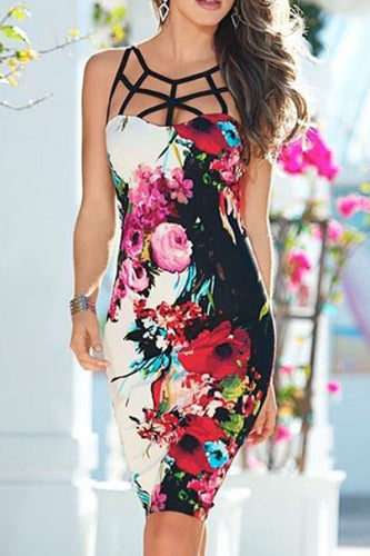 Sexy Fashion Chic Slim Floral Sleeveless Crossover Braces Bodycon Dress