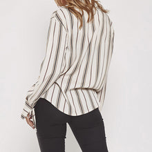 Fashion Casual Elegant Loose Strip Button V Collar Long Sleeve Blouse - lolabuy