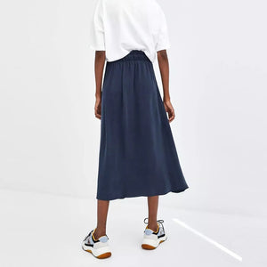 Chic Casual Elegant Loose Plain High Waist Button Fork Long Skirt - lolabuy