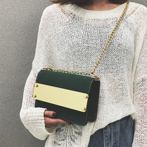 Chic Casual Dull Polish Rectangle Color Block Chain One Shoulder Bag - lolabuy
