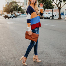 V Neck Color Block Long Sleeve Stripes Sweaters - lolabuy