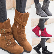 Plain  Invisible  Mid Heeled  Velvet  Round Toe  Casual Date  Short Flat Boots - lolabuy