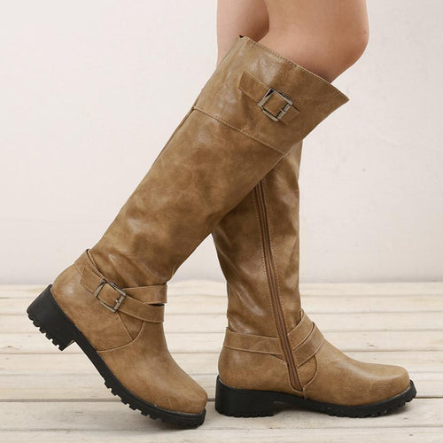 Plain  Flat  Round Toe  Casual Outdoor  Knee High Flat Boots - lolabuy