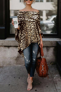 Off Shoulder  Leopard Printed Asymmetric T-Shirts - lolabuy