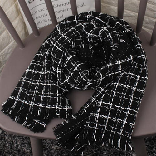 Chic Casual Thermal Woolen Plaid Rectangle Cape Scarf - lolabuy