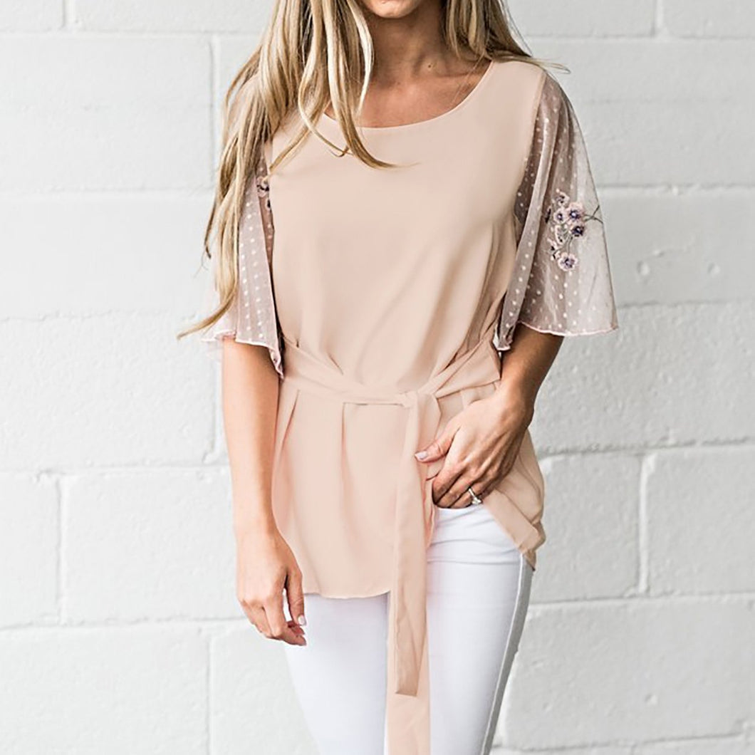 Fashion Plain Waist T-Shirt - lolabuy