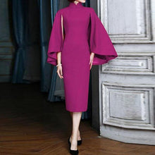 Band Collar  Plain Bodycon Dress - lolabuy
