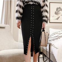Elegant Chic Plain Rivet High Waist Fork Elastic Long Skirt - lolabuy