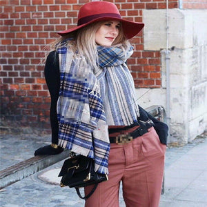 Casual Fashion Woolen Plaid Thermal Rectangle Cape Scarf - lolabuy