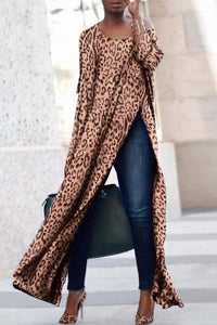 Scoop Neck Side Vented  Leopard Print T-Shirts - lolabuy