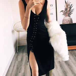 Sexy Chic Slim Plain Deep V Collar Sleeveless Braces Lace-Up Front Fork Bodycon Dress - lolabuy
