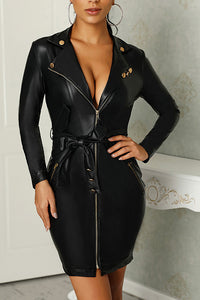 Sexy Casual Leather Slim Zipper Collar Long Sleeve Bodycon Dress - lolabuy