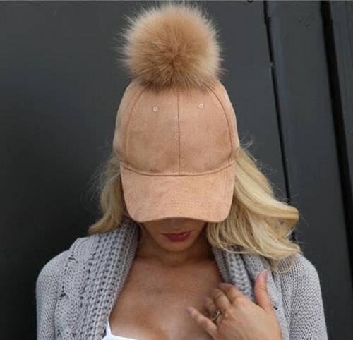Casual Chic Youth Plain Fur Ball Peaked Cap Hat - lolabuy