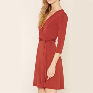 Elegant Chic Casual Slim Plain V Collar Lace-Up Waistband Long Sleeve Shift Dress - lolabuy