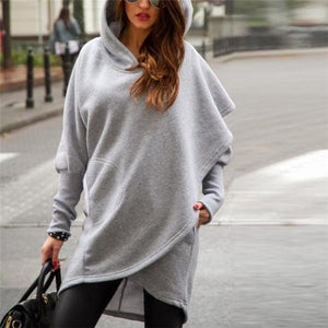 Chic Soft Loose Plain Long Sleeve Pocket Hoodie - lolabuy